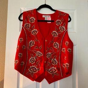 Vintage Red Embroidered Vest